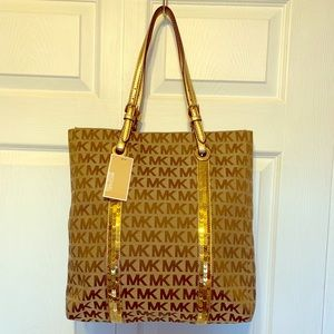 Michael Kors striped sequins tote
